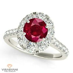 1.35 Ct. Natural Ruby Ring With 0.90 Ctw. Diamond Halo Platinum 950