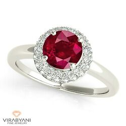 1.35 Ct. Natural Ruby Ring With 0.40 Ctw. Diamond Halo 18k White Gold