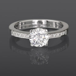 Diamond Ring Solitaire Accented 18 Kt White Gold Colorless 1.31 Carat Size 7 8 9