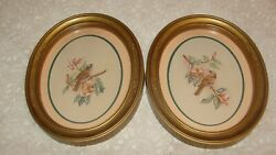 Homco Home Interior 2 Gold Oval Humming Bird Pictures W/accents Margie Morrow