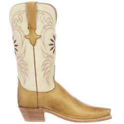Lucchese Thea Goat Snip Toe Womens Boots Mid Calf Low Heel 1-2