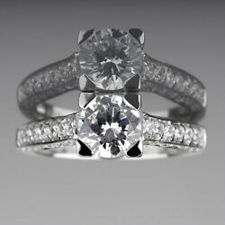 Si2 Diamond Ring Round Accented Channel Set Anniversary 18k White Gold 1.98 Ct