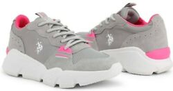 U.s. Polo Assn. Becky Womenand039s Sneakers Shoes In Light Gray Suede/fabric New