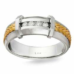 14k Two-tone Gold 1/8ct Tdw Men's Braided Comfort Fit