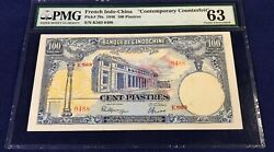 French Indochina 100 Piastres 1946 Pick 97x Pmg 63 Contemporary Counterfeit Rare