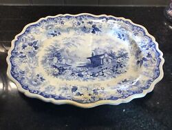 Rare Antique Lucerne Blue Transferware Large Platter Great Condition 17 By 14