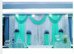 Wedding Backdrop Curtain Romantic Ice Silk Stage With Swag Backdrop 10ftx10ft