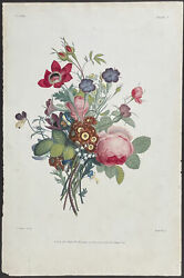Prevost - Bouquet. 7 1805 Collection Hand-colored Stipple Engraving