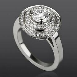 Diamond Ring Double Halo Natural 14 Karat White Gold Anniversary Colorless 2 Ct