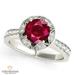 1.35 Ct. Natural Ruby Ring With 0.40 Ctw. Diamond Fancy Halo 18k White Gold