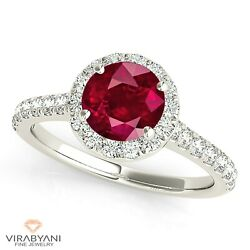 1.35 Ct. Natural Ruby Ring With 0.35 Ctw. Diamond Halo 18k White Gold