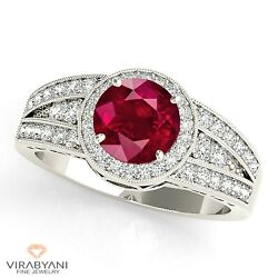 1.35 Ct. Natural Ruby Ring With 0.40 Ctw. Diamond Milgrain Halo 14k White Gold