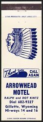 Vintage Matchbook Cover Arrowhead Motel Indian Pictured Kintz Gillette Wyoming