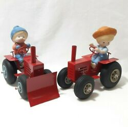 Pair 1987 Vintage Enesco Country Cousins Tractors With Figurines