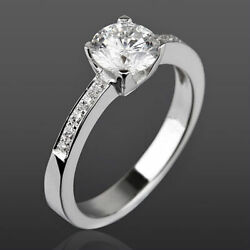 1.14 Carat Diamond Ring Solitaire Accented 18k White Gold 4 Prong New Women
