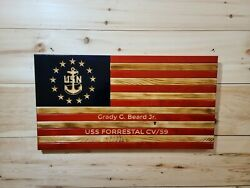 United States Naval American Wooden Rustic Flag Large 19.5 X 37