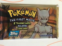 Pokemon The First Movie Topps Trading Cards. Mewtwo Graphic On Front.