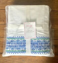 Pottery Barn Lilly Pulitzer Blue Border In Shell Of A Time Full Sheet Set Nwt