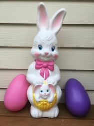 Vintage Empire Blow Mold Easter Bunny With Basket And Baby 1995 With Light