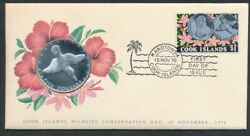Cook Islands 1976 Wildlife Bird Large Silver 5 Pnc Coin And Stamp First Day Cover