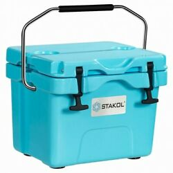 16 Quart Cooler Portable Ice Chest Leak-proof 24 Cans Ice Box For Camping Blue