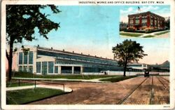 Postcard Industrial Works And Office Building Bay City Mi Michigan 1931  E-556