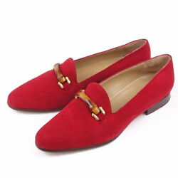Vintage Bamboo Suede Loafer Pumps Heel Shoes Red