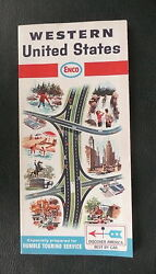 1966 Western United States Road Map Enco Gas Oil Route 66 Early Interstate