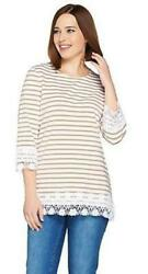 Denim And Co. Stripe 3/4 Sleeve Knit Top/lace Trim Mocha Brown Women Small
