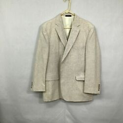 David Taylor Mens Beige Single Breasted Two Button Blazer Suit Jacket Size 44r