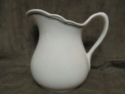 Circa 1920and039s Mcnicol China Porcelain Restaurant Ware Green Stripe Water Pitcher