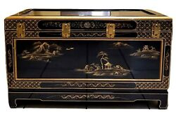 Vintage Oriental Asian Black Lacquer Chest W/ Brass And Velvet Lining 40andtimes20andtimes24