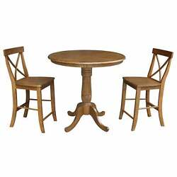 36 Round Counter Height Table With 2 X-back Stools - Pecan- Pecan N/a