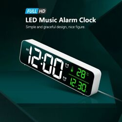 Digital LED Large Alarm Clocks Bedroom With Snooze Dual Clock USB Charger Dimmer