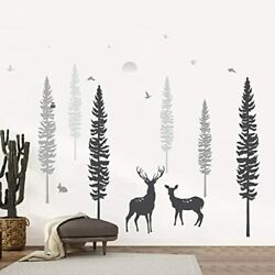 Timber Nursery Wall Decal Dreamy Forest with Pine Tree Animals amp; Deer