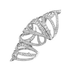 Stunning 3.50 Ct Real Diamond Anniversary Cocktail Ring 14k White Gold Size L M