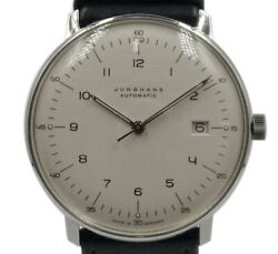 Junghans Max Bill 027.4700 Automatic White Dial Leather Belt Men's 37 Mm