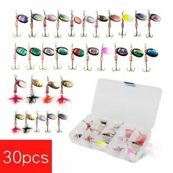 30pc Fishing Metal Spinner Set 3g-7g Spoon Hard Bait Artificial Lure Bass Sequin