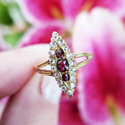 Antique Victorian 18ct Gold Ruby And Diamond Navette Ring   Uk Size M