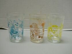 The Flintstones Welch Jelly Juice Promo Glasses 1960's Yellow Blue Pink Set Of 3