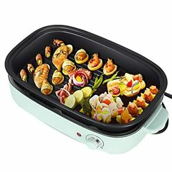 Vogous Portable Electric Grill And Hot Pot Dessert 3 In 1 Mufti-functional Hot