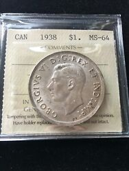 1938 Iccs Graded Canadian Silver Dollar Ms-64