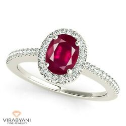 1.00 Ct. Natural Oval Ruby Ring With 0.20 Ctw. Diamond Halo 18k White Gold