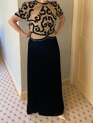 Black And Gold Embroidery Vintage Dress By Mary Mcfadden Sz4