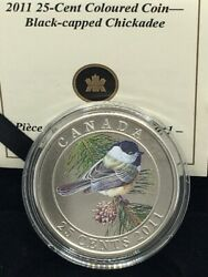 2011 Canada 25-cent Coloured Coin - Black-capped Chickadee