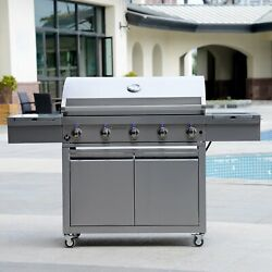 Stainless Steel 7 Burner Bbq Grill With Grill Cover Storage Cabinet Led Knobs
