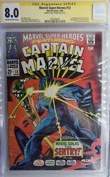 Marvel Super-heroes 13 Cgc Ss 8.0 Signed Roy Thomas 1st Appearance Carol Danvers