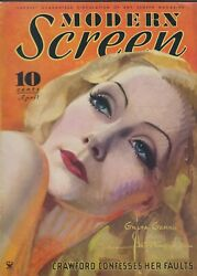 Modern Screen April 1934 Greta Garbo By Armstrong Vg+ Nice Lucky Strike Ad Back