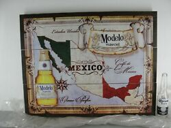 Modelo Especial Beer Old World Map Mexico Wood Plank Board Beer Sign 28x22 Mdf