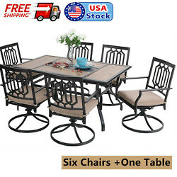 Outdoor Patio Furniture Set Of 7 Garden Swivel Chairs With Cushion Dining Table
